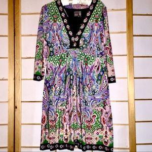 Muse patterned mini sheath dress beaded neckline